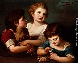 Angelica Kauffmann Children With A Bird's Nest And Flowers painting