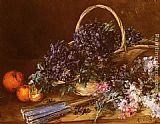 Antoine Vollon A Still Life with a Basket of Flowers, Oranges and a Fan on a Table painting