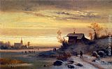 Anton Doll Figures in a Winter Landscape painting