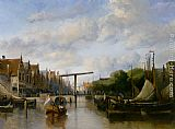 Antonie Waldorp A Busy Canal in a Dutch Town painting