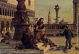 Antonio Paoletti Feeding The Pigeons painting
