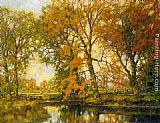 autumn gold rush landscape by peter ellenshaw Paintings - An Autumn Landscape with Cows Near a Stream