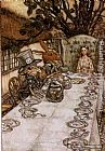 mad dogs Paintings - Alice in Wonderland A Mad Tea Party