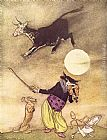Arthur Rackham Mother Goose The Cow Jumped Over the Moon painting