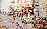 Attilio Pratella The Marketplace painting