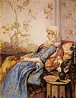 Auguste Toulmouche An Exotic Beauty in an Interior painting