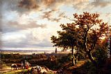 Barend Cornelis Koekkoek A Panoramic Rhenish Landscape With Peasants Conversing On A Track In The Morning Sun painting