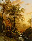 Barend Cornelis Koekkoek A traveller and a herdsman in a mountainous landscape painting