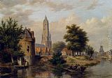 Bartholomeus Johannes Van Hove View Of A Riverside Dutch Town painting