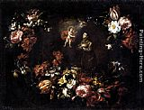 Bartolome Perez Garland of Flowers with St Anthony of Padua painting