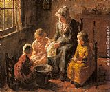 Bernard Jean Corneille Pothast Mother and Children in an Interior painting