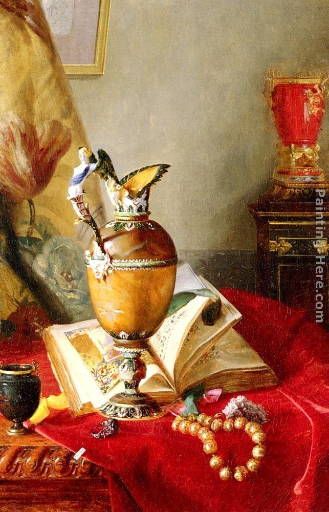 Blaise Alexandre Desgoffe A Still Life With Urns And Illuminated Manuscript On A Draped Table