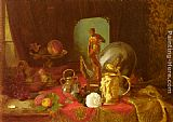 A Still Life with Fruit, Objets d'Art and a White Rose on a Table