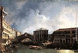 Canaletto The Grand Canal near the Ponte di Rialto painting
