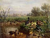 Carl Jutz Ducks by a Pond painting