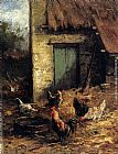 Carl Jutz Poultry In A Farmyard painting