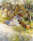 Carl Larsson A Lady Reading a Newspaper painting