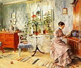 Carl Larsson An Interior with a Woman Reading painting