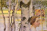 Carl Larsson Lisbeth At The Birch painting
