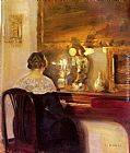 Carl Vilhelm Holsoe A Lady Playing the Spinet painting
