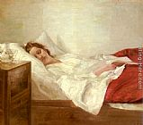 Carl Vilhelm Holsoe Asleep painting