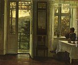Carl Vilhelm Holsoe At The Window painting