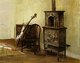 Carl Vilhelm Holsoe Interieur Med En Cello painting