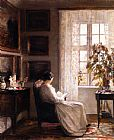 Carl Vilhelm Holsoe Reading in the Morning Light painting