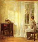 Carl Vilhelm Holsoe Waiting By The Window painting