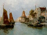 Carl Wagner Boats by the Riverbank painting