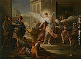 Carle van Loo The Blinding of the Inhabitants of Sodom painting
