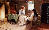 Carlton Alfred Smith Two Girls In An Interior Winding A Skein Of Wool painting
