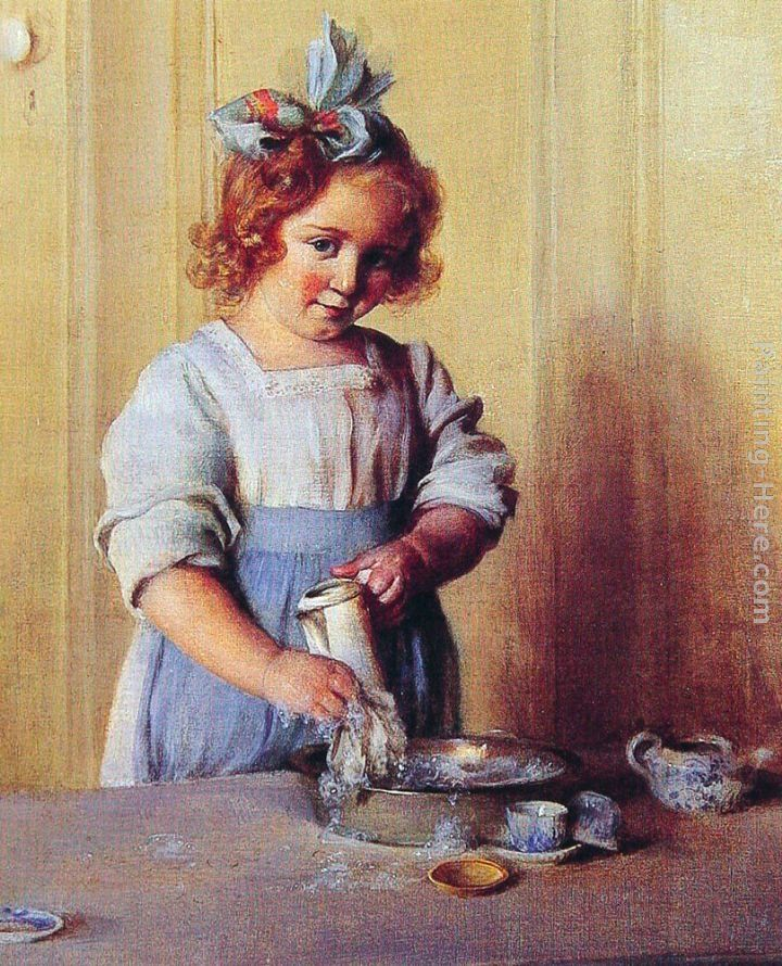 Charles Courtney Curran Washing Dishes Emily and Her Tea Set