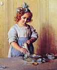 Charles Courtney Curran Washing Dishes Emily and Her Tea Set painting