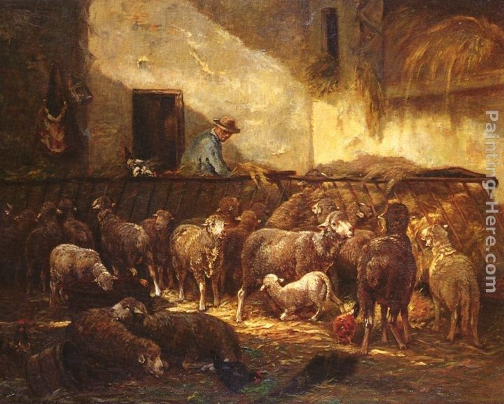 Charles Emile Jacque A Flock Of Sheep In A Barn