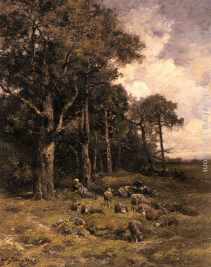 Charles Emile Jacque Shepherdess Resting With Her Flock