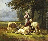 Charles Emile Jacque A Shepherdess With Her Flock In A Woodland Clearing painting
