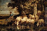 Charles Emile Jacque A Shepherdess With Her Flock painting