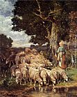 Charles Emile Jacque A Shepherdess with her Flock near a Stream painting