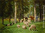 Charles Emile Jacque Landscape with Sheep painting