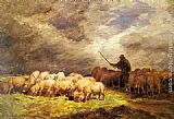 Charles Emile Jacque The Swineherd painting