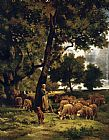 Charles Emile Jacque The shepherdess and her flock painting