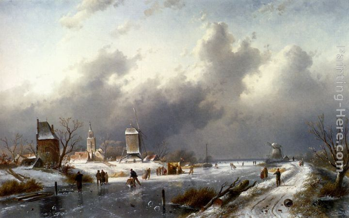 Charles Henri Joseph Leickert A Frozen Winter Landscape With Skaters