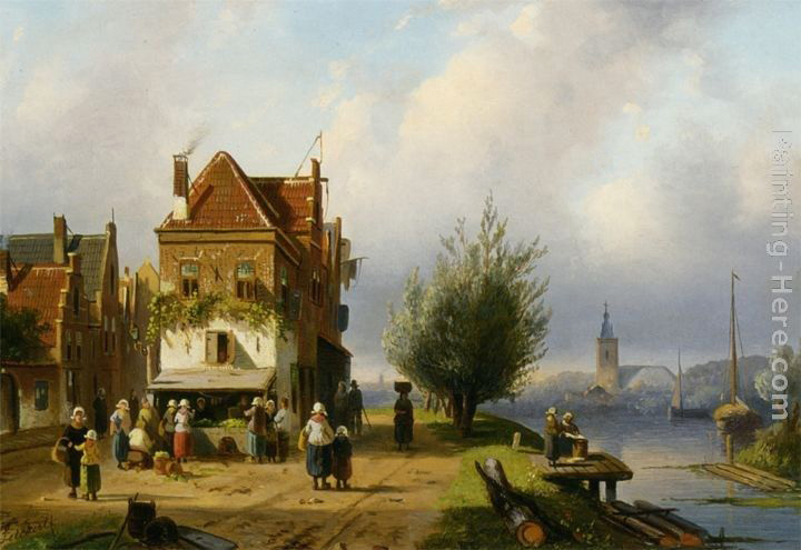 Charles Henri Joseph Leickert A Town View with Figures by a Market Street Stall