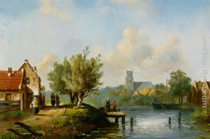 Charles Henri Joseph Leickert Figures near a waterside inn