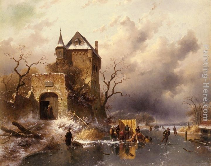 Charles Henri Joseph Leickert Skaters on a Frozen Lake by the Ruins of a Castle