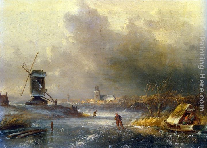 Charles Henri Joseph Leickert Winter Landscape with Skaters on a Frozen River