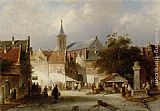 A Busy Market in a Dutch Town