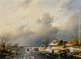 Charles Henri Joseph Leickert A Frozen Waterway with Skaters by a Cottage painting