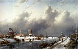 Charles Henri Joseph Leickert A Frozen Winter Landscape With Skaters painting